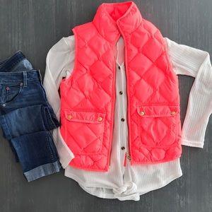 Jcrew pink flamingo quilted vest